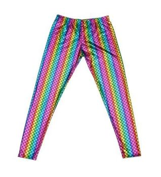 Men's High Shine Laser Effect Rainbow Leggings - One Size