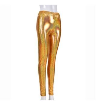 Women's High Shine Laser Effect Gold Leggings - One Size