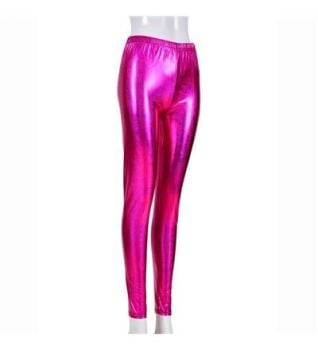 Women's High Shine Laser Effect Pink Leggings - One Size