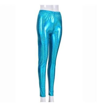 Women's High Shine Laser Effect Turquoise Leggings - One Size