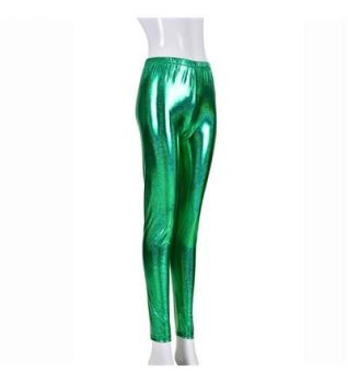 Women's High Shine Laser Effect Green Leggings - One Size