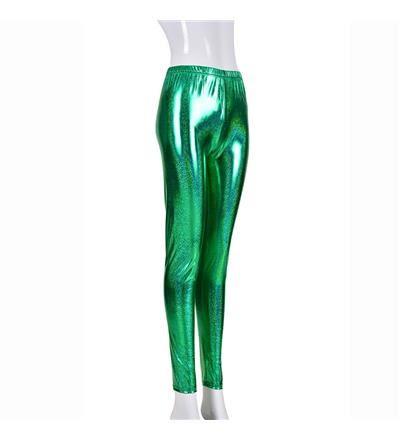 Women's High Shine Laser Effect Green Leggings - One Size
