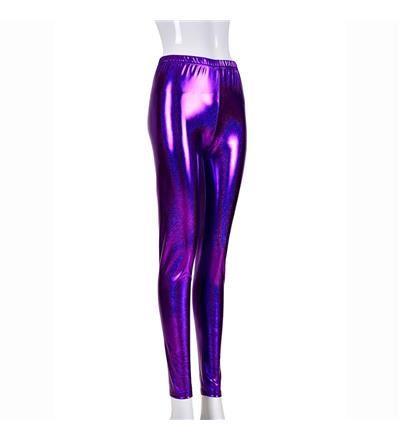 Women's High Shine Laser Effect Purple Leggings - One Size