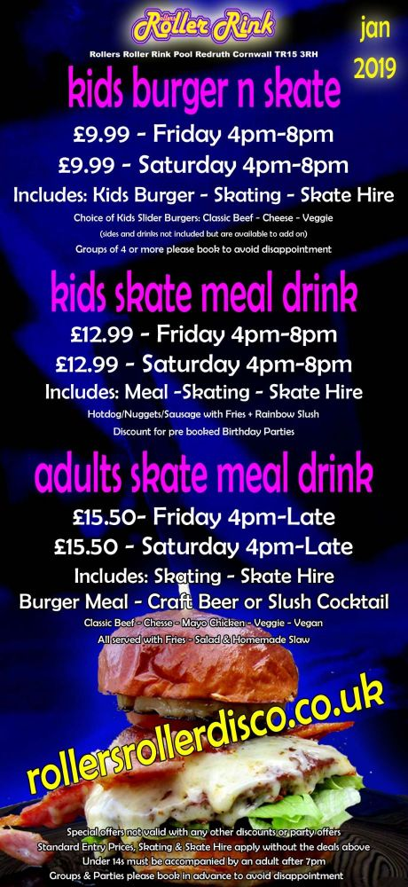Burger and Skate Roller Disco Deals Jan 2019
