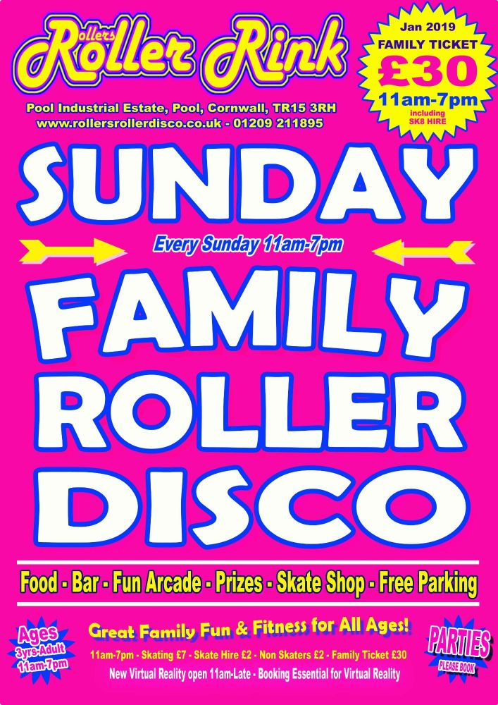 Sunday Roller Discos Jan 2019 Rollers Roller Rink Cornwall