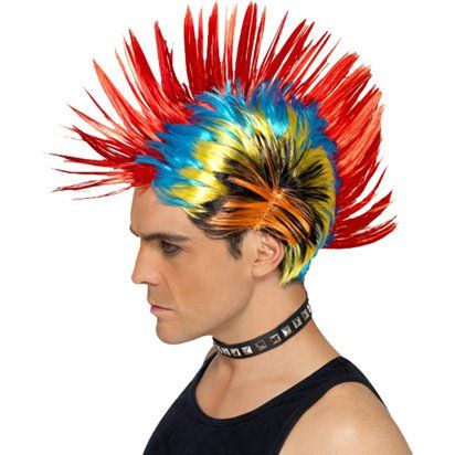 1980's Punk Mohican Mohawk Wig - Multi Colours
