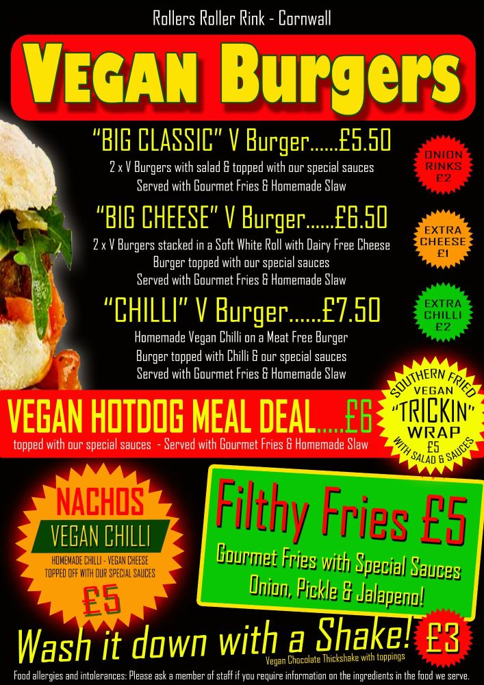 Vegan Burger and Sides Menu 2019
