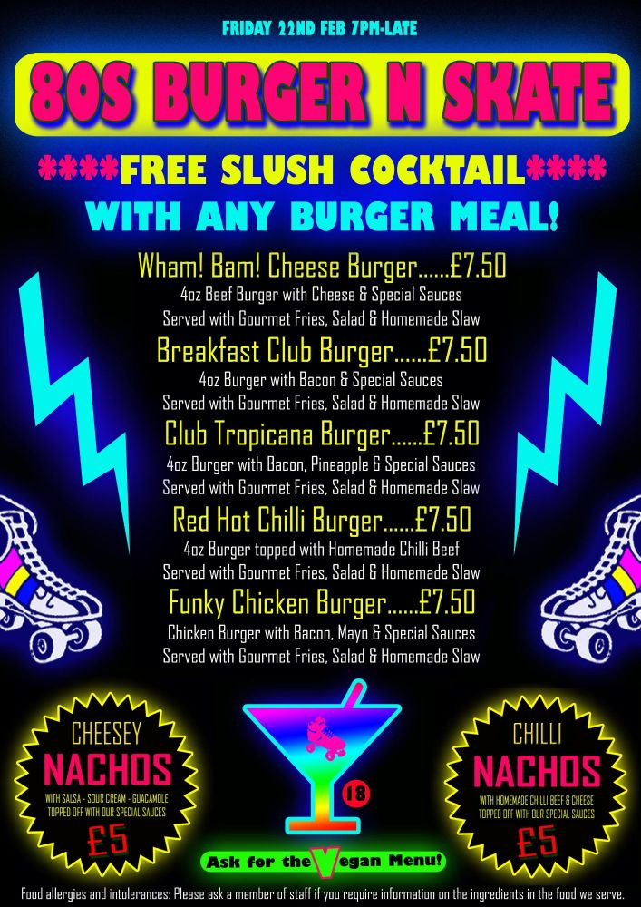 Burger Meals with Free Slush Cocktails Menu Feb 22