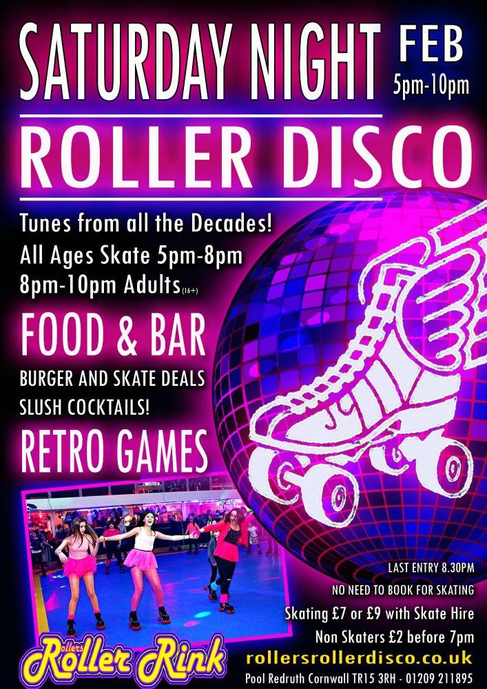 Sat Night Roller Disco & Burgers Feb 2019 5-10pm