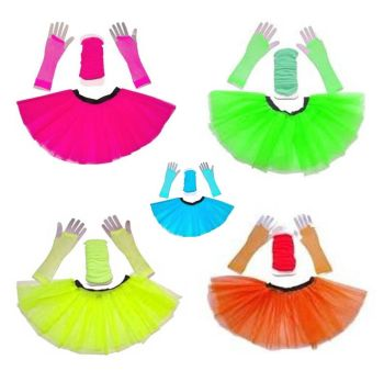 80s Tutu, Neon Leg Warmers & Mesh Gloves Deal