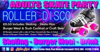Adults Roller Disco Party with Burger Meal and Slush Cocktail