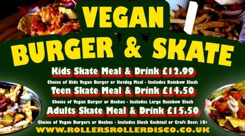 Vegan Burger and Skate Roller Disco Cornwall 2019