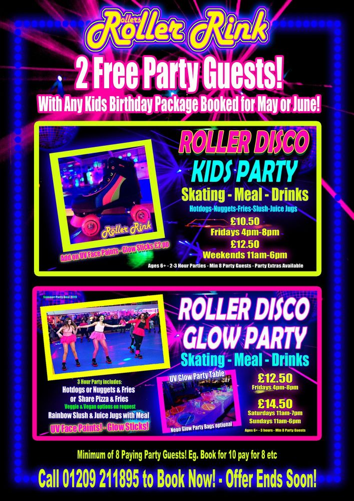 Free Party Guests in May & June at Rollers Roller Disco Cornwall