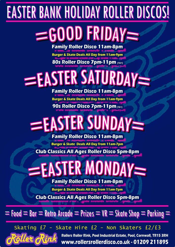 Easter Weekend Roller Discos Cornwall April 2019