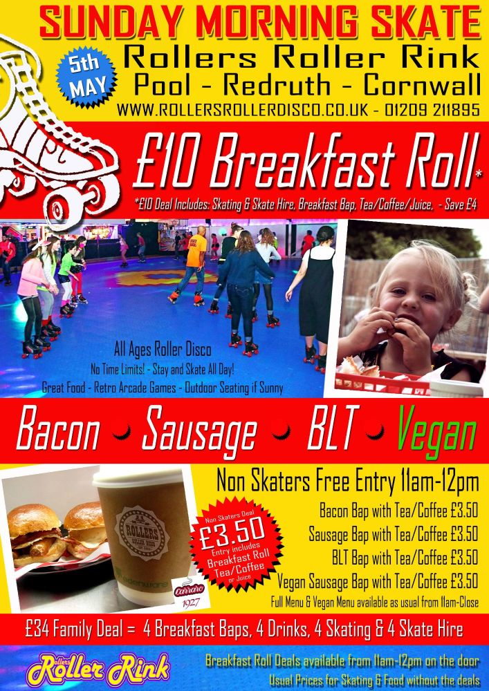 Breakfast Roller Disco 11am Sunday 5th May 2019
