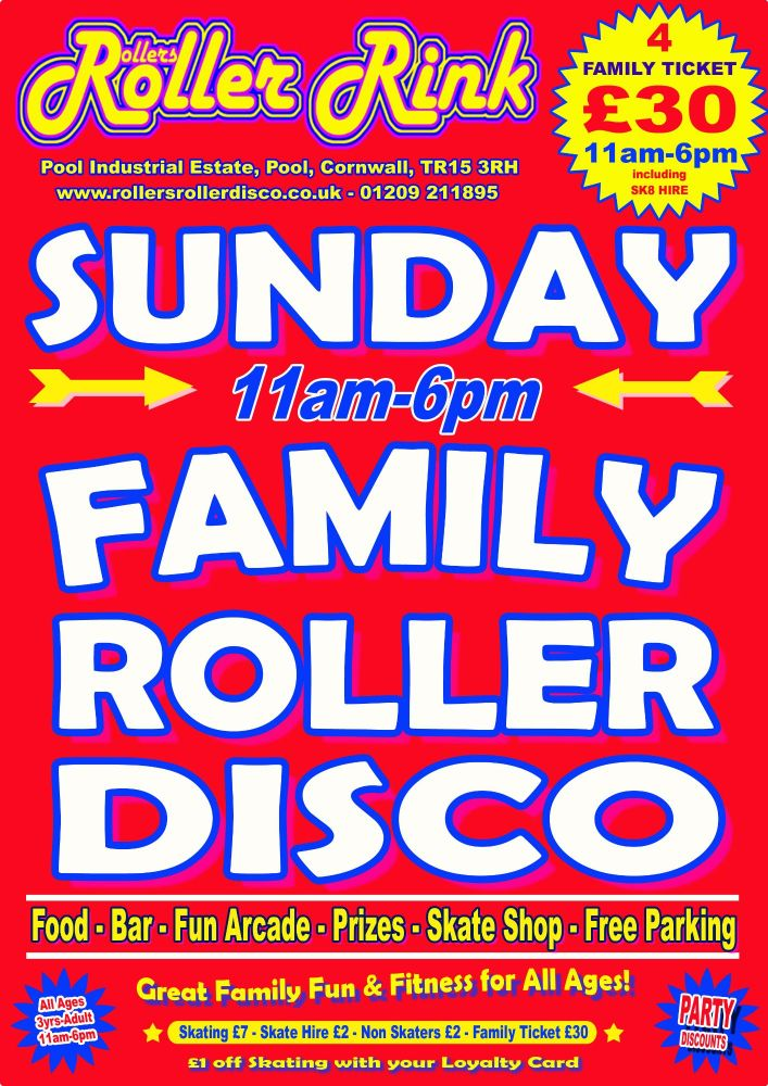 Sunday Roller Disco 11am-6pm May 2019