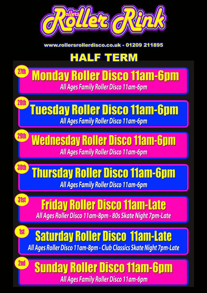 Half Term Whitson Roller Disco Times Cornwall May 2019