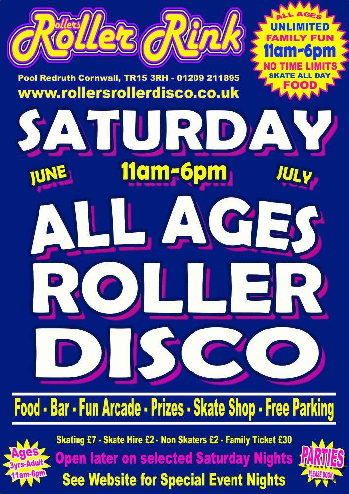 Saturday Roller Disco Cornwall July 2019
