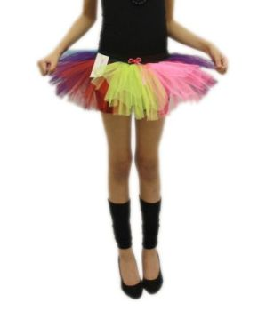 Childs 80s Fancy Dress Tutu - Neon Rainbow Colours