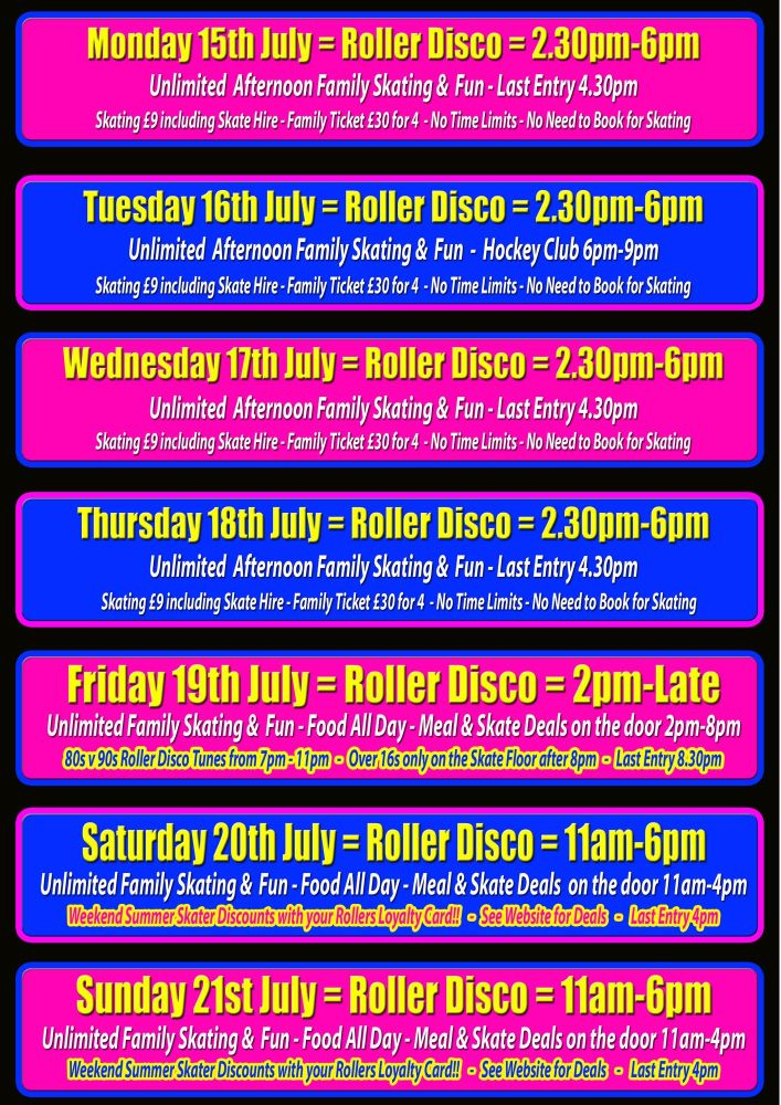 Summer Roller Disco 15-21 July Cornwall