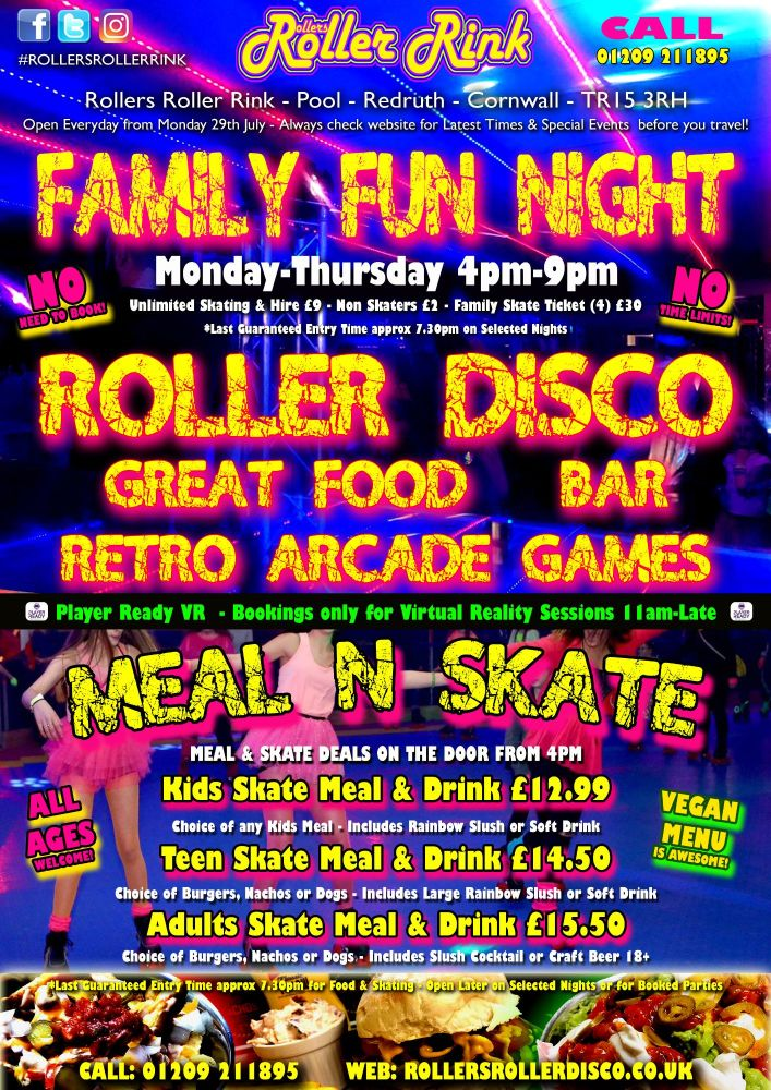 Family Nght Meal and Skate at Rollers Roller Disco Cornwall 2019
