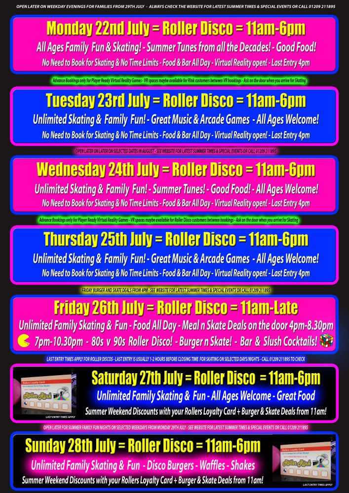 Summer Roller Disco and VR Cornwall 22nd July- 28th July
