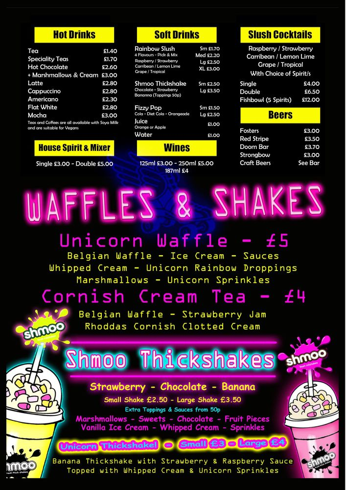 Summer Drink and Waffle Menu