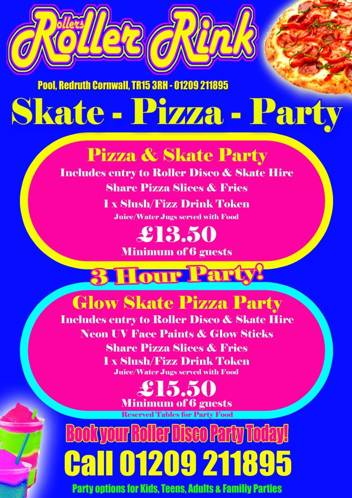 Pizza & Skate Teen Party Deal Autumn 2019