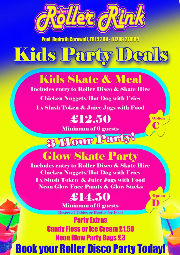 Kids Roller Disco Party Meal Skate Deal Autumn 2019