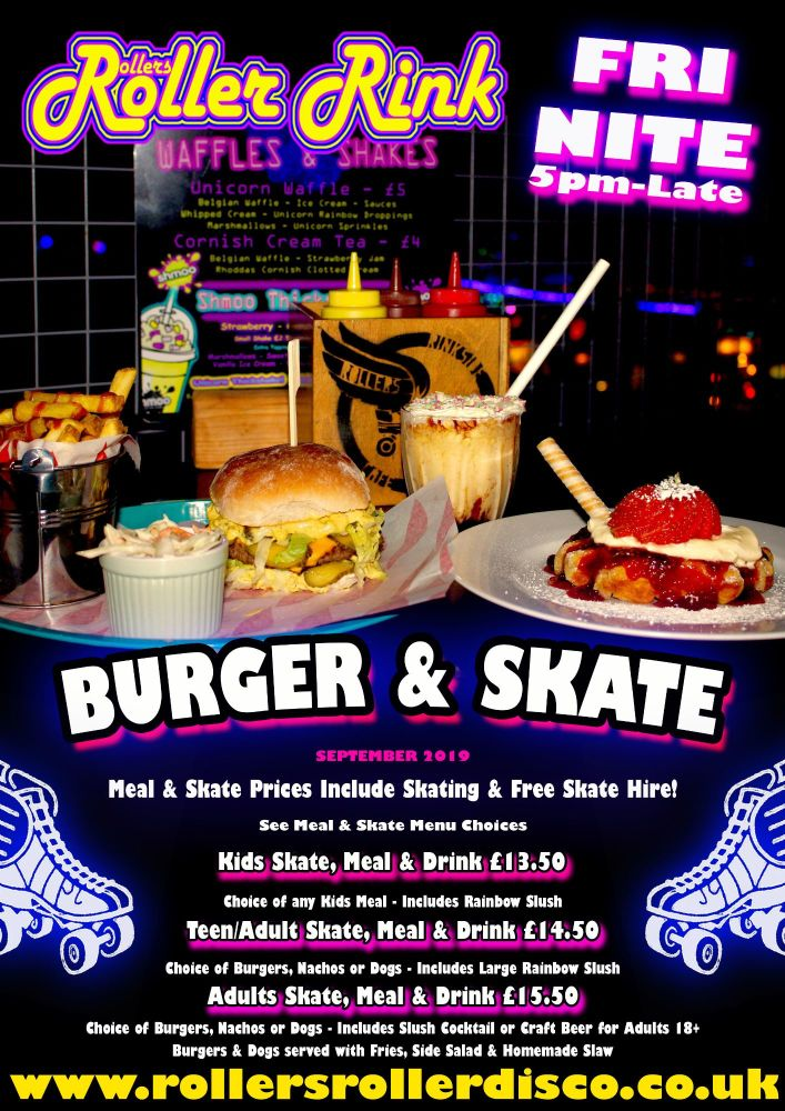 Friday Night Burger and Skate Roller Disco Cornwall 2019