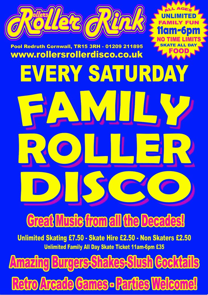 Every Saturday Roller Disco Cornwall Autumn 2109