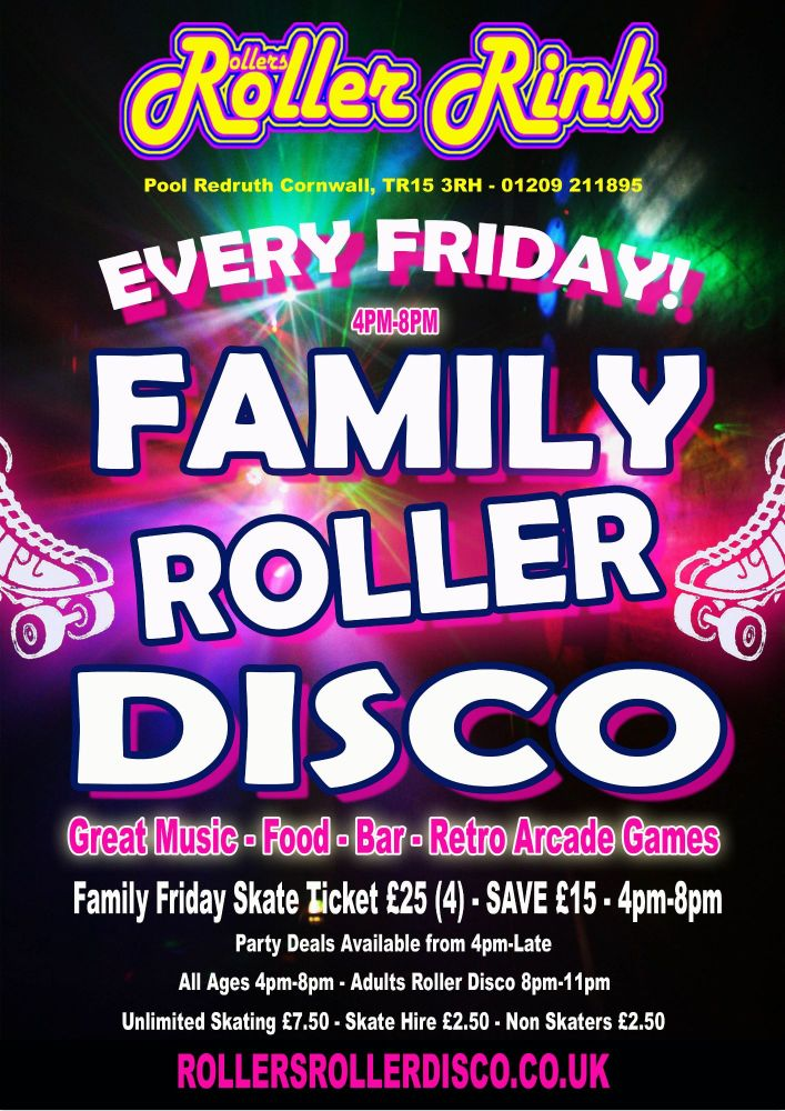 Friday Family Roller Disco Cornwall 4pm-8pm