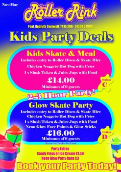 Kids Party Meal and Skate Winter 2019 2020
