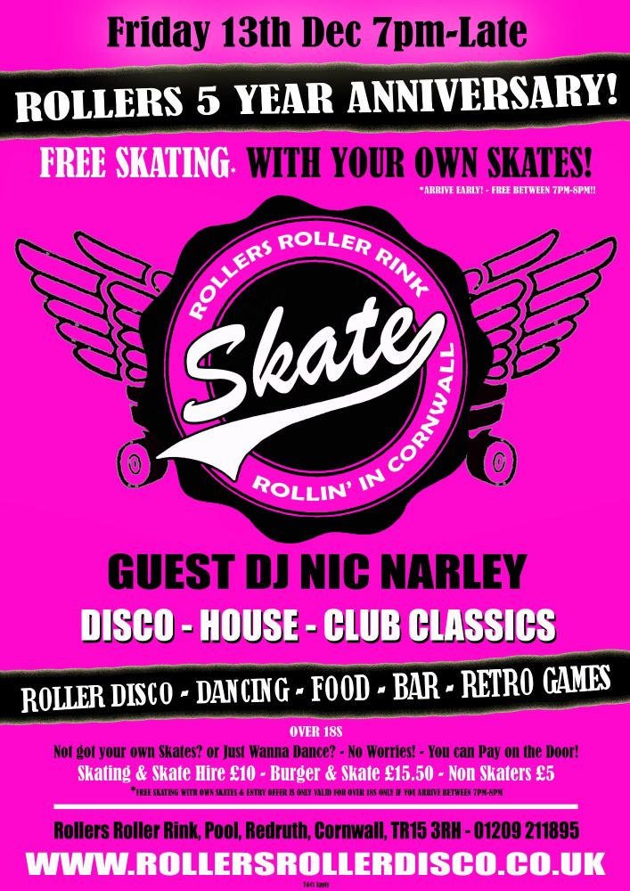 Free Skate Roller Disco Dj Night Cornwall - Friday 13th Dec