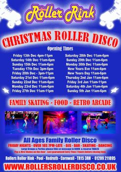 Christmas and New Year Roller Disco Opening Times Rink Cornwall 2019