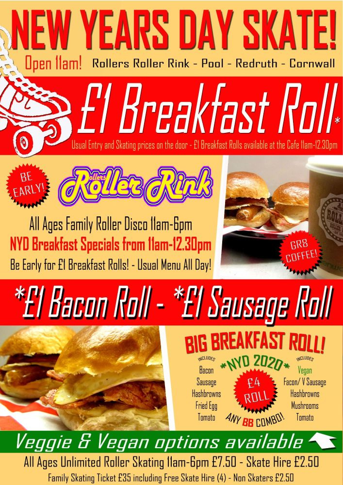 New Years Day Breakfast Roll Roller Disco 2020