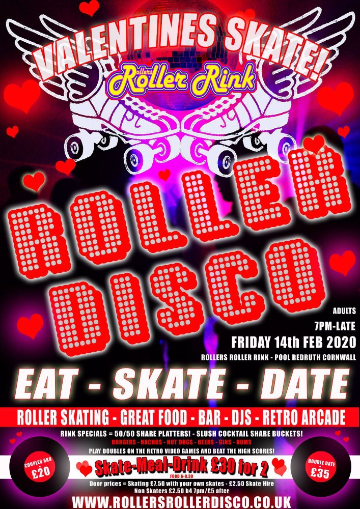 Valentines Roller Disco Adults Skate Night 2020 Cornwall
