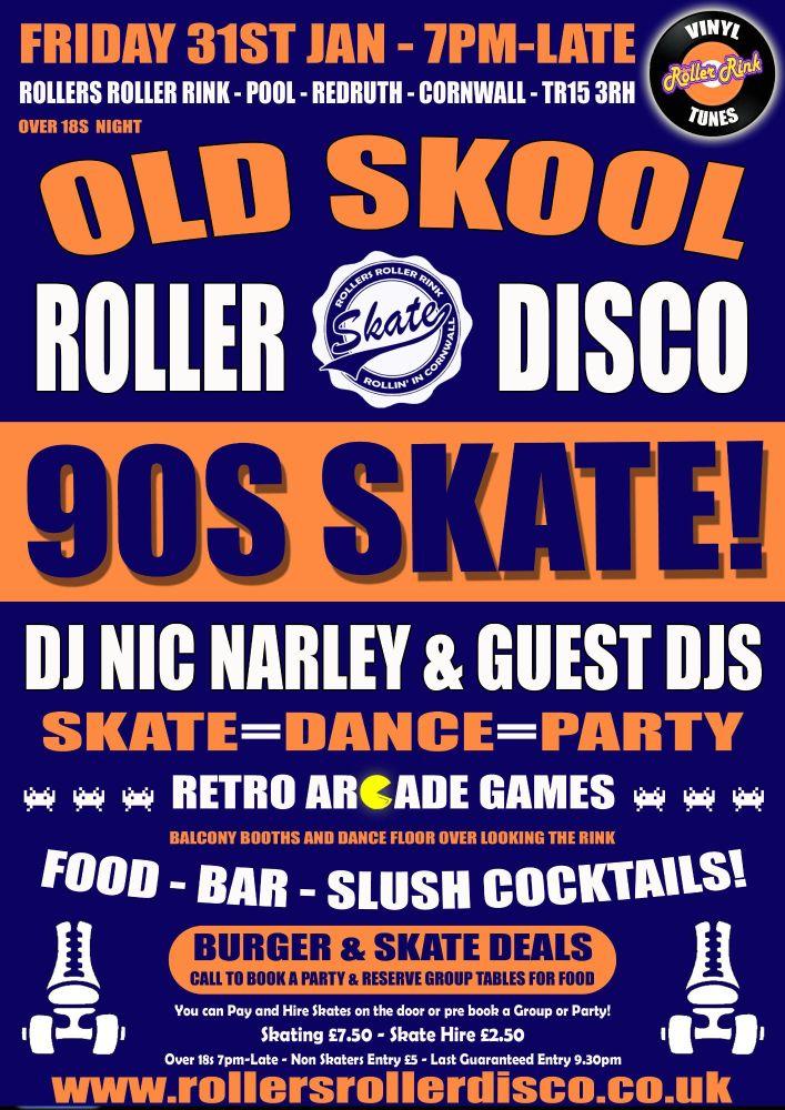Old Skool Roller Disco Djs Friday 31st Jan Cornwall 2020