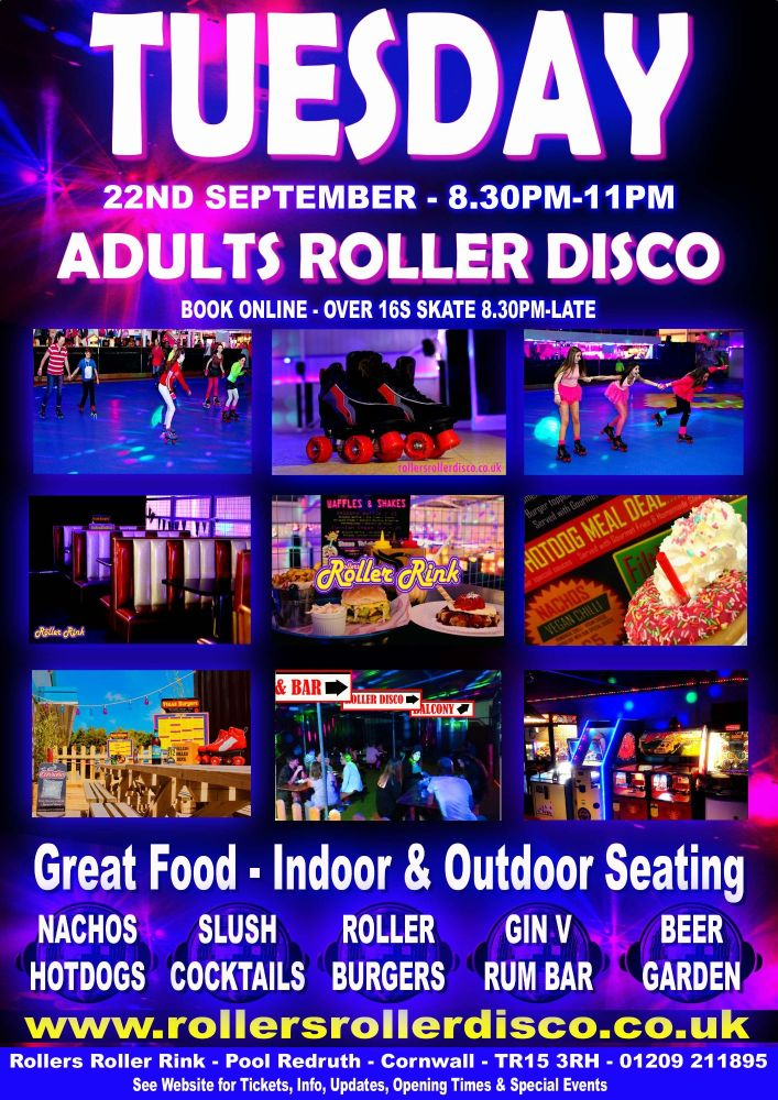 Tuesday Adults Roller Disco Cornwall 2020