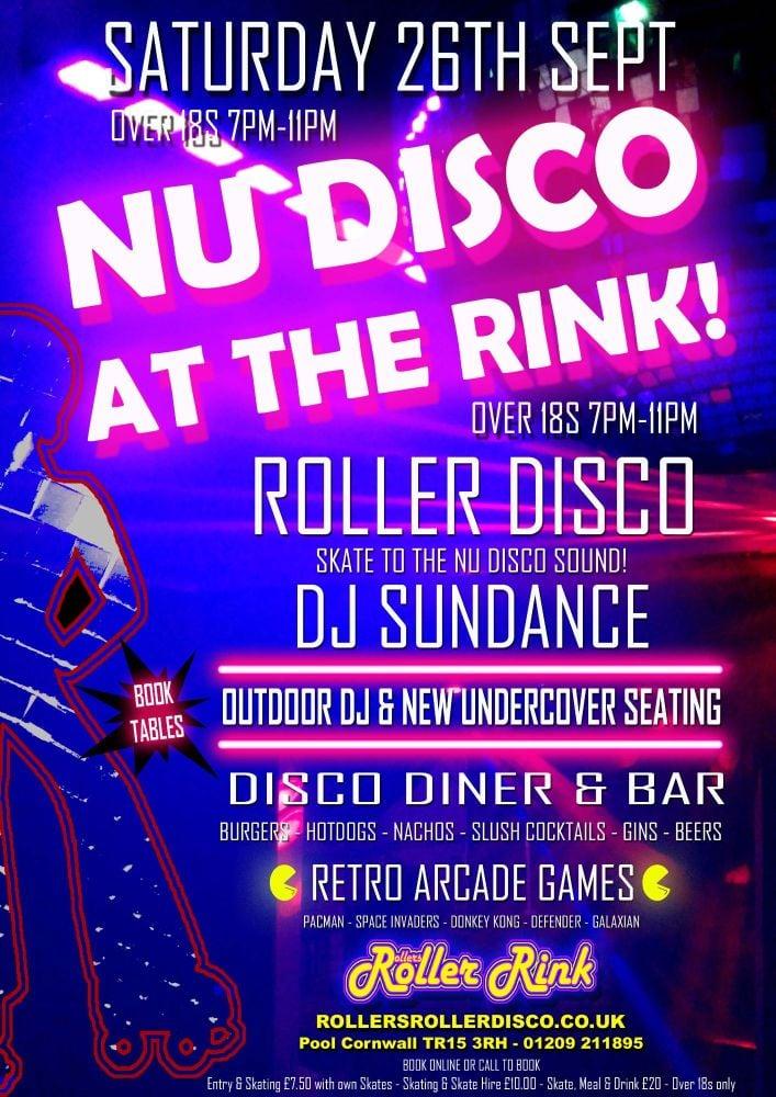 Nu Disco Adults Roller Disco Saturday 26th Sept 7pm-11pm