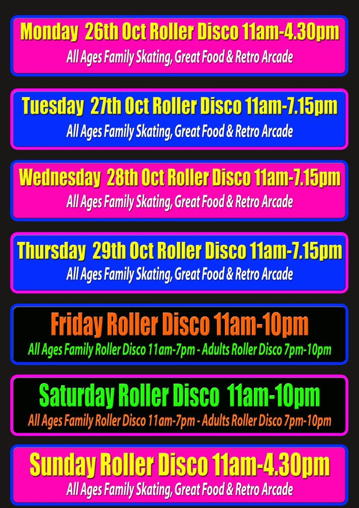 Half Term Roller Disco Cornwall October 2020