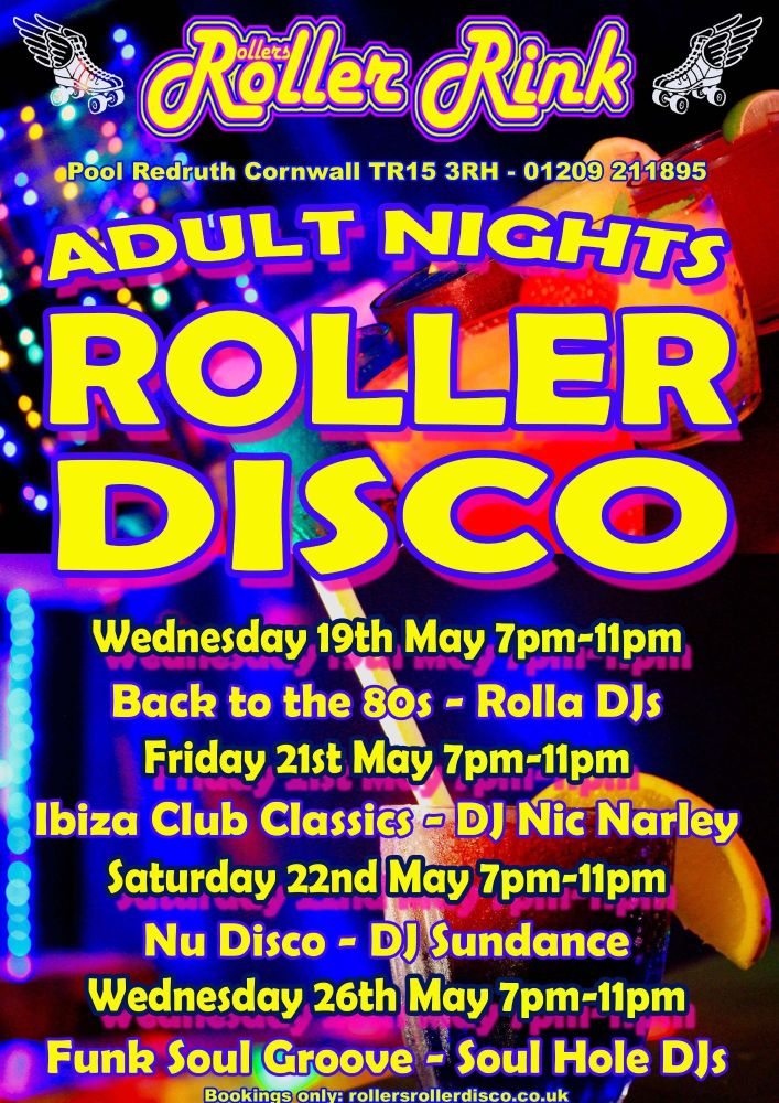 Adults Roller Disco Cornwall May 2021