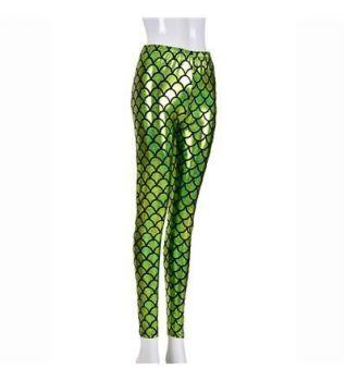 Women's High Shine Laser Effect Green Mermaid Leggings - One Size