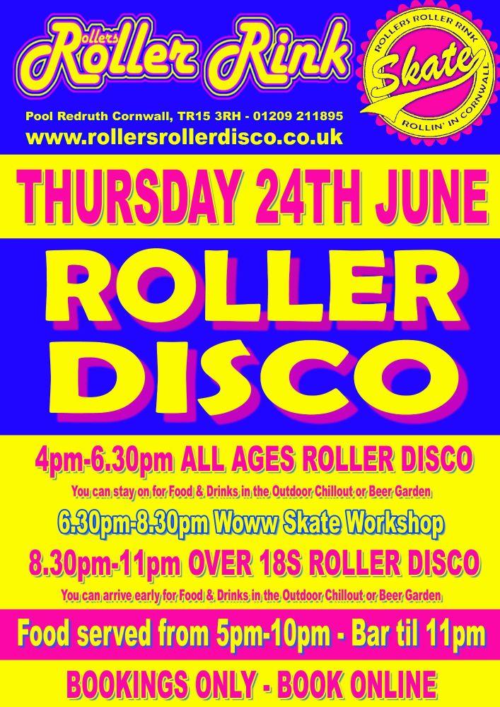 Thursday 24th June Roller Disco Cornwall 2021