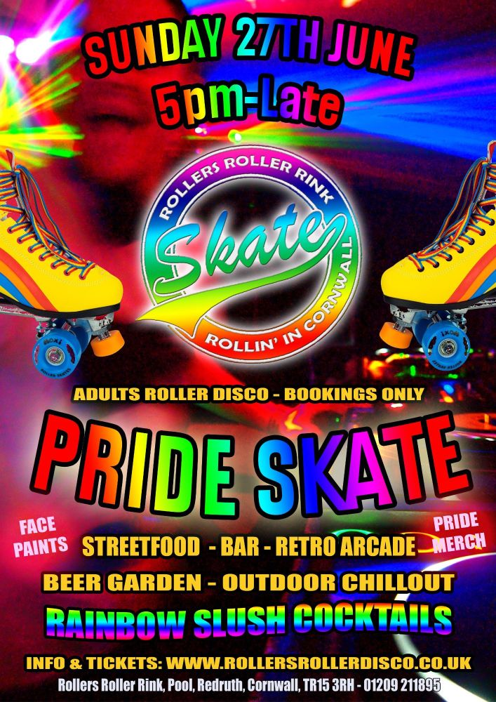 Pride Skate Roller Disco Sunday 27th June Cornwall 2021