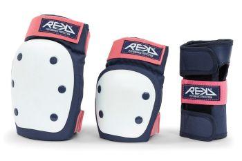 REKD Heavy Duty Adult Pad  Set - Knee, Elbow & Wrist Guards- Blue/Pink
