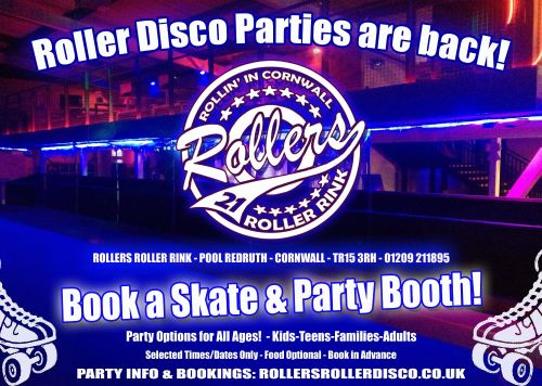 Roller Disco Skate Parties are back at Rollers Roller Rink Cornwall 2021