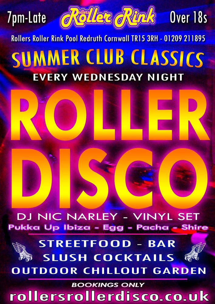 Summer Club Classics Skate Every Wednesday at Rollers Roller Rink Cornwall