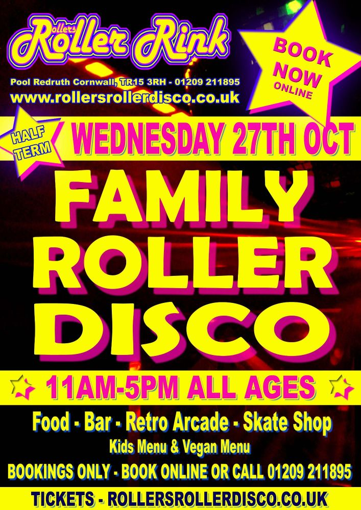 Wednesday 27th Oct Roller Disco Cornwall 2021