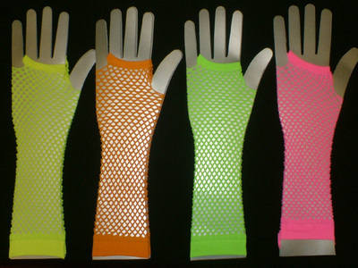 Long Mesh Gloves in Various Neon Colours